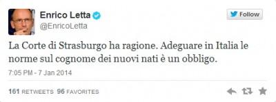 tweet Letta gennaio 2014